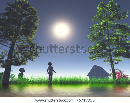 Two kids as symbol for happy and carefree childhood full of mysteries.