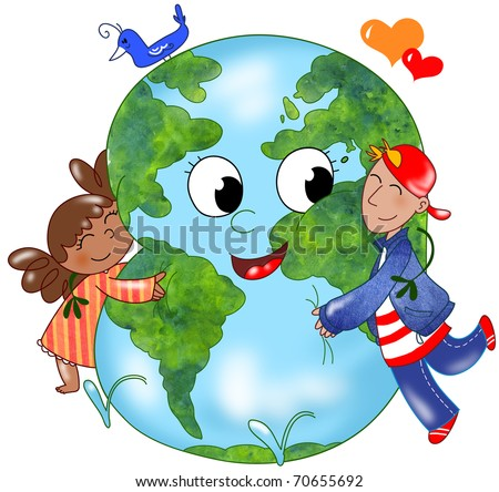 Two kids embracing a happy planet earth