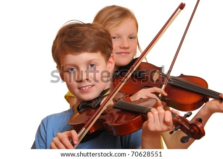 Two kids playing violin isolated on white background