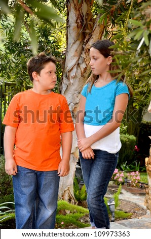 Little Siblings Talking Together. Stock Photo 167297780 : Shutterstock