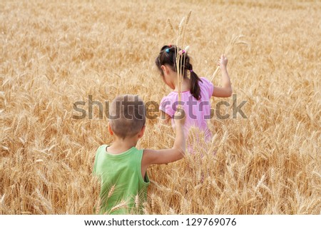 Two kids walking on a wheat field