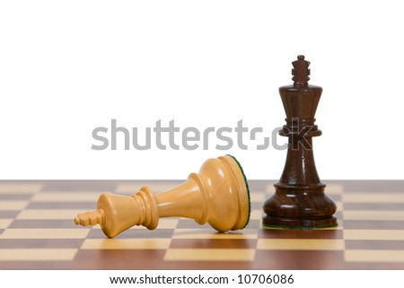 Two kings on a wooden chess board against a white background.