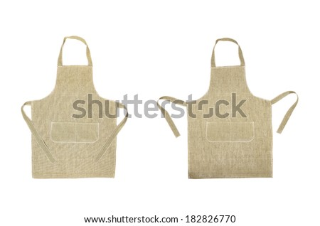 Two kitchen gray aprons. Front view. Isolated on a white background