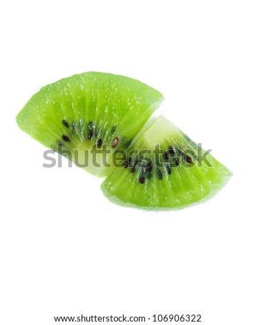 two kiwi slices on white background