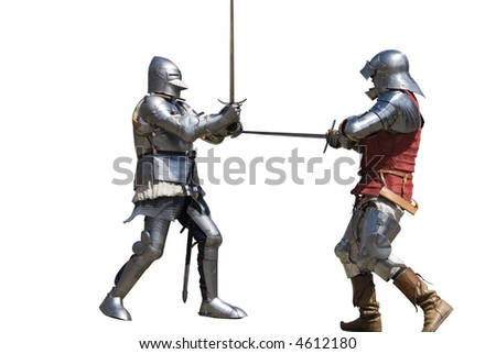 Two knights competing in a tournament. Isolated, solid white background.