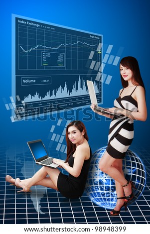 Two ladies present the Stock exchange graph report : Elements of this image furnished by NASA