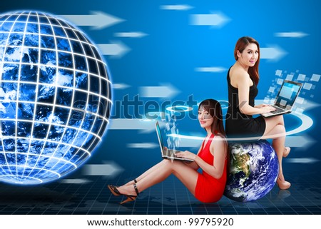 Two lady and digital technology world movement concept : Elements of this image furnished by NASA