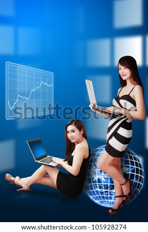 Two lady and graph background : Elements of this image furnished by NASA