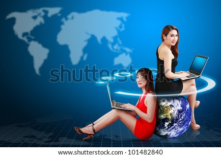 Two lady and world map background : Elements of this image furnished by NASA