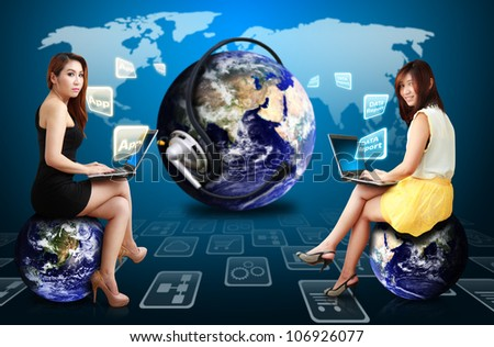 Two lady and world of applications : Elements of this image furnished by NASA