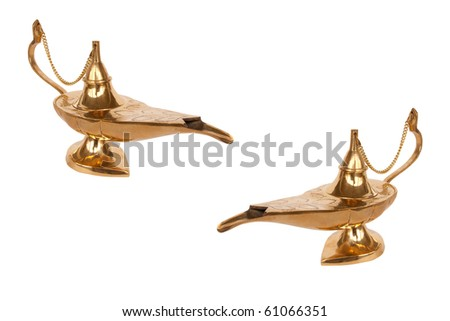Two lamps of Aladdin with genie inside