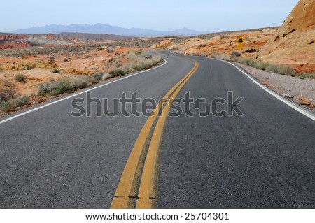 Two lane highway, Valley of Fire State Park, Overton, Nevada - stock photo