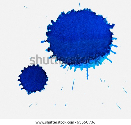Two large blue dried ink spots on textured white paper