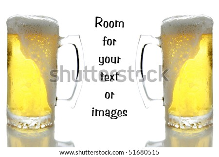 Two large glasses of beer in frosted mugs on white with reflections below and room for your text or images