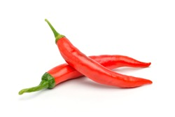 Two Large Red chili peppers isolated on white background.