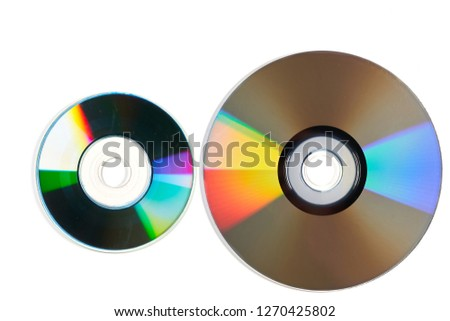 Two laser discs isolated on white background. #1270425802