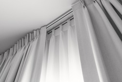 Two layers curtain with rails, installed on ceiling, translucent and blocking lights curtain