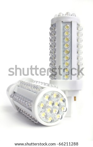 Two LED lights blub isolated on white background
