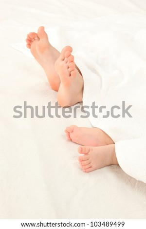 Two legs of Asian infants