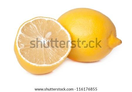 Two lemons isolated on white