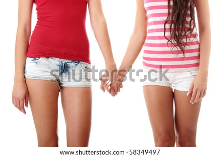 Two lesbian women in short isolated on white background