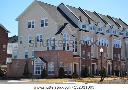 Two Level Stacked Brick Townhomes
