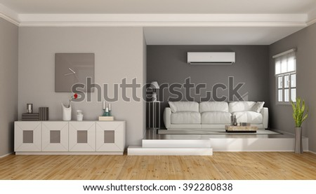 Two levels modern living room with sofa , sideboard and air conditioner- 3D Rendering