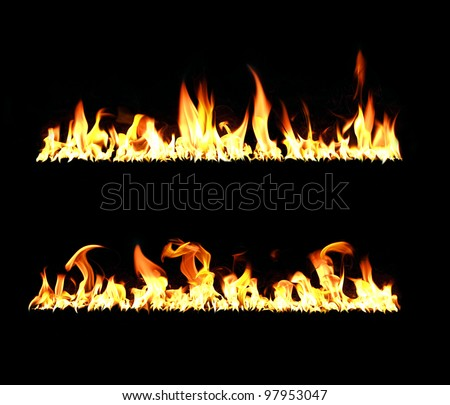 Two lines of flames on a black background, high contrast, high resolution