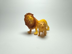 Two Lion plastic toy - Miniature Plastic Toy Animals on white background