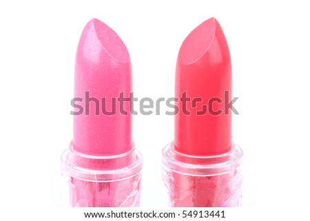 Two lipsticks on white, closed-up