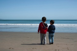 Two little boys looking at the Pacific ocean. Two brothers holding their hands. Concept of brotherhood and friendship. Pacific ocean, Point Reyes, CA, USA. Outdoors activity. Horizontal, rear view.