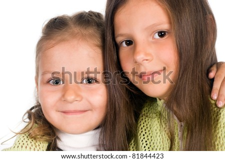 two little girls on a white background