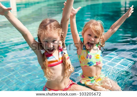 Topless swimming Young girls
