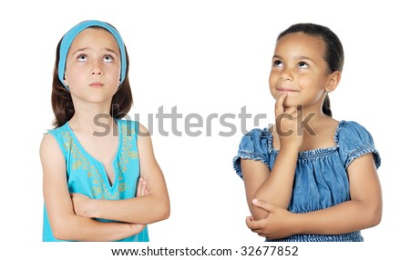 Two little girls thinking on a over white background