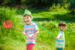 Two little sibling brothers playing with scoop-net on the meadow on warm and sunny summer or spring day. Active leisure for children. Kid boy best friends having fun together outdoors.