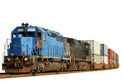 Two locomotives pulling a train of container cars, isolated on white