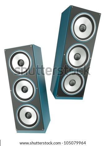 Two loudspeakers isolated on white background. 3D render.