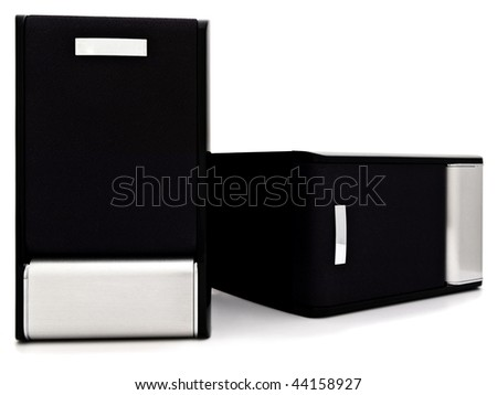 two loudspeakers with copyspace against the white background