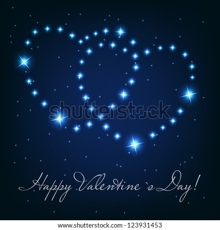 Two love heart from beautiful bright stars on the background of cosmic sky - stock photo