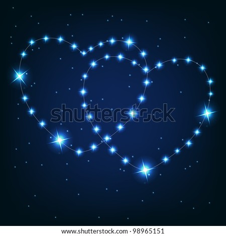Two love heart from beautiful bright stars on the background of cosmic sky