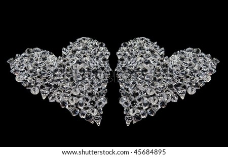 love heart black background. stock photo : two love hearts