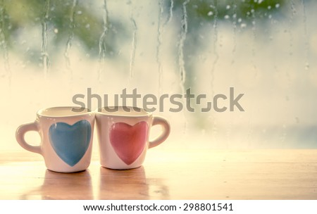 two lovely glass on rainy day...
