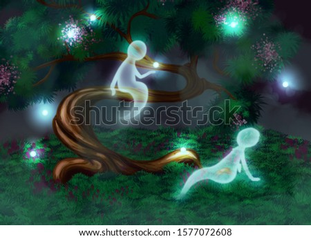 Two lovely good spirits are sitting on a tree and in a green clearing nearby, surrounded by magic lights and a mysterious fog at the night.