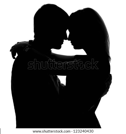 Two lovers. Isolated silhouette on white