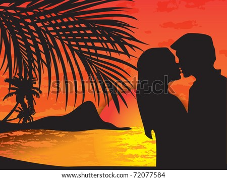 Two lovers on the beach with tropical sunset, palms, sea and island behind them - raster version of vector 69100798