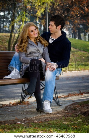 Two Lovers Sitting On A Park Bench Traffic Club