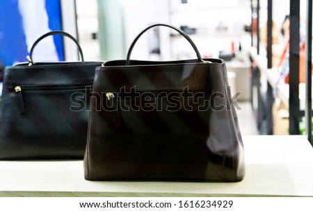 Two luxury handbags in a boutique store.