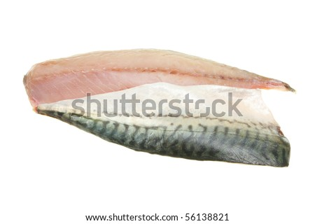 Two mackerel fish fillets isolated on white