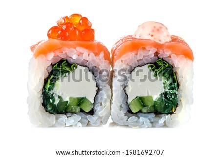 two maki sushi on a white background, Uramaki maki sushi, two rolls isolated on white