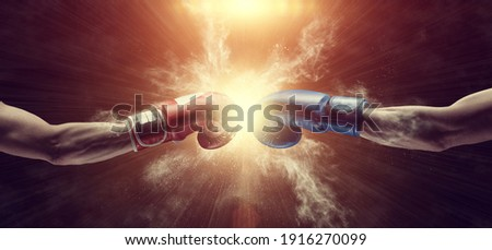 Two male hands in boxing gloves. Sports confrontation. 3d image Foto stock ©